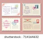 vintage wedding postcard vector ... | Shutterstock .eps vector #714164632
