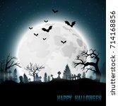 halloween background with... | Shutterstock . vector #714168856