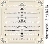 vintage set of decorative... | Shutterstock . vector #714168946