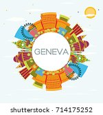 geneva skyline with color... | Shutterstock .eps vector #714175252