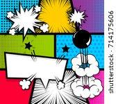 pop art comics book magazine... | Shutterstock .eps vector #714175606