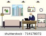 cartoon old man with laptop... | Shutterstock .eps vector #714178072