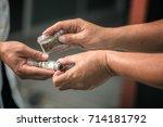drug addict buying narcotics...   Shutterstock . vector #714181792