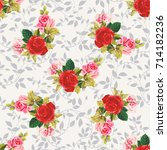 seamless floral pattern red and ... | Shutterstock .eps vector #714182236