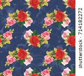 seamless floral pattern red and ... | Shutterstock .eps vector #714182272