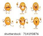 vector set of six cartoon... | Shutterstock .eps vector #714193876