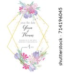 greeting card for the wedding... | Shutterstock .eps vector #714196045
