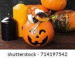 terrible sweets for halloween... | Shutterstock . vector #714197542