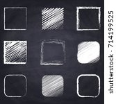 chalk drawn square. geometric... | Shutterstock .eps vector #714199525