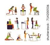 icons set of mother cartoon...   Shutterstock . vector #714200536
