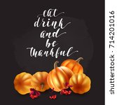 thanksgiving greeting card.... | Shutterstock .eps vector #714201016