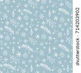 seamless doodle pattern in blue ...   Shutterstock .eps vector #714203902