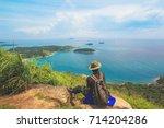 men love adventure  mountain... | Shutterstock . vector #714204286