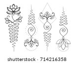 lotus and sacred geometry.... | Shutterstock .eps vector #714216358