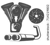 set of monochrome auto parts... | Shutterstock .eps vector #714219802