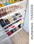 collection of women's shoes on... | Shutterstock . vector #714222232