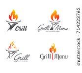 vector logo template grill... | Shutterstock .eps vector #714223762