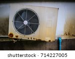 old white air conditioner... | Shutterstock . vector #714227005