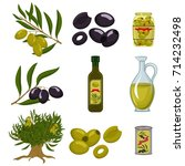 black and green olives are... | Shutterstock .eps vector #714232498
