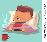 flu cartoon vector illustration ... | Shutterstock .eps vector #714232612