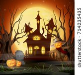 vector illustration of scary... | Shutterstock .eps vector #714235435