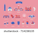 taiwan travel symbol collection ... | Shutterstock .eps vector #714238135