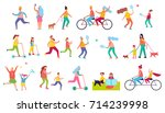 active relaxation of different... | Shutterstock .eps vector #714239998