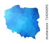 map of poland   blue geometric...   Shutterstock .eps vector #714242092