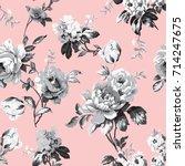shabby chic vintage roses ... | Shutterstock .eps vector #714247675