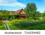 timbered countryside house with ... | Shutterstock . vector #714254482