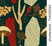 autumn pattern design. vector... | Shutterstock .eps vector #714260362