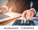 businessman's hands with... | Shutterstock . vector #714269422