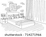 bedroom graphic black white... | Shutterstock .eps vector #714271966