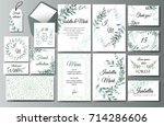 set of creative botanical... | Shutterstock .eps vector #714286606