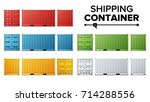 shipping cargo container set... | Shutterstock .eps vector #714288556