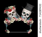 two newlywed skulls in low poly ... | Shutterstock .eps vector #714289432