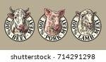 cows  pig  sheep head. 100... | Shutterstock .eps vector #714291298