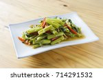 quick fried water spinach... | Shutterstock . vector #714291532