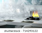 kitchen on fire with a lot of...   Shutterstock . vector #714293122