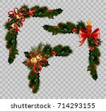 christmas decoration fir holly...   Shutterstock .eps vector #714293155