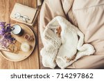 Stock photo ginger kitten sleeping on knitted woolen sweater wooden tray with home decor near the window fall 714297862
