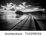 black and white beach scene.... | Shutterstock . vector #714298456
