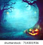 halloween pumpkin in dark... | Shutterstock . vector #714301936