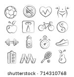 health and fitness doodle icons | Shutterstock . vector #714310768