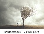 surreal tree in autumn foliage | Shutterstock . vector #714311275