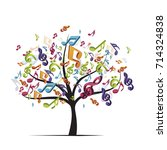 tree with colorful music notes  ... | Shutterstock . vector #714324838