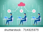group of employees connected to ... | Shutterstock .eps vector #714325375