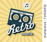 cassette tape. retro music.... | Shutterstock .eps vector #714326932