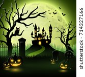 halloween background with... | Shutterstock . vector #714327166