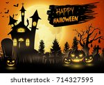 vector illustration of scary... | Shutterstock .eps vector #714327595